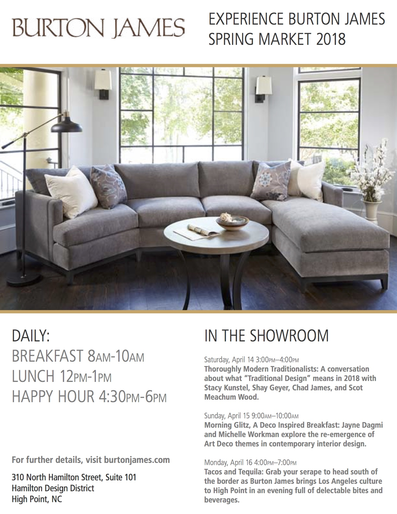 High Point Ready: Our Showroom Schedule - Burton James